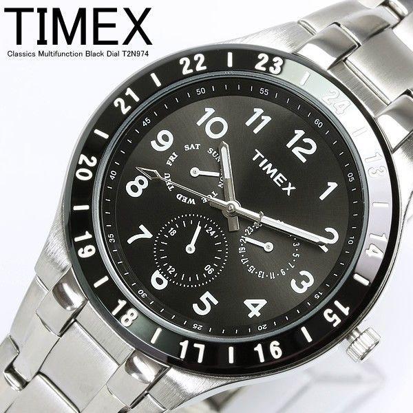 TIMEX タイメックス メンズ 腕時計 マルチカレンダー 人気 ブランド メタル ブラック T2N974|cameron