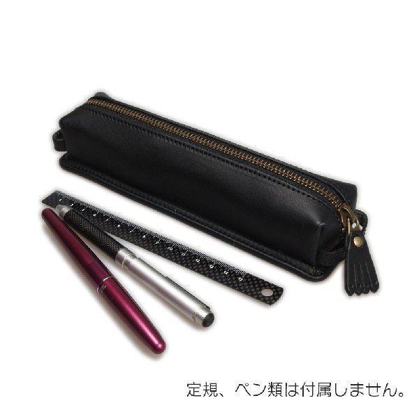デスクペンケース 日本製 牛革  ブラック 「リーブス」|cameshouse|03