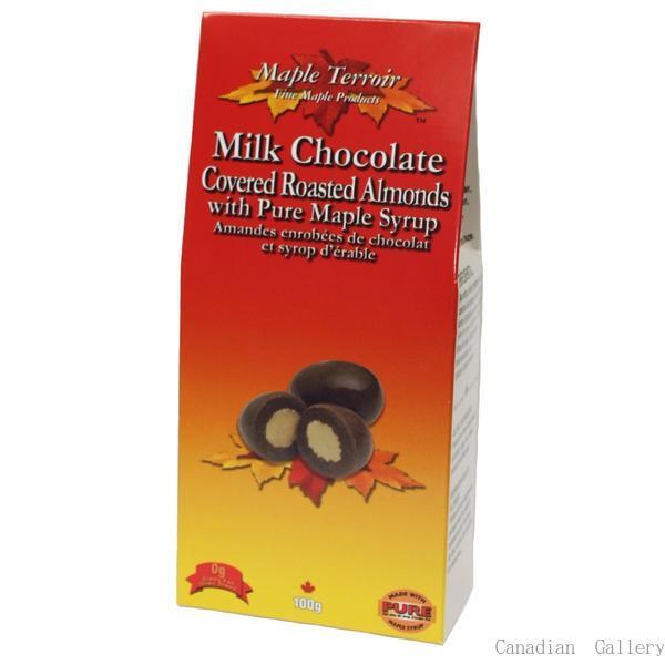 夏季クール便配送  5箱 メープルアーモンド チョコレート 100g 代引き不可