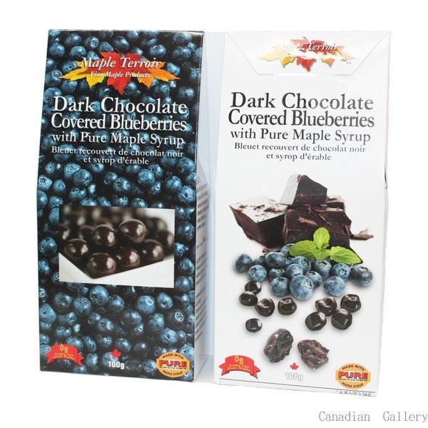 夏季クール便配送  5箱 ダークチョコレート まるごとブルーベリー 100g入 メープルシロップ入 代引き不可