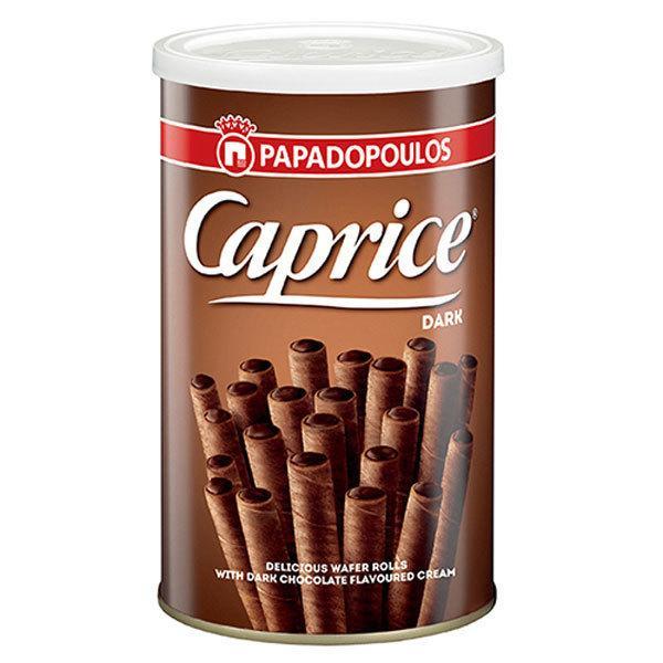 【6缶】カプリス ウエハーロール ダークチョコクリーム 250g  クール便配送の選択可能 沖縄は一部送料負担あり