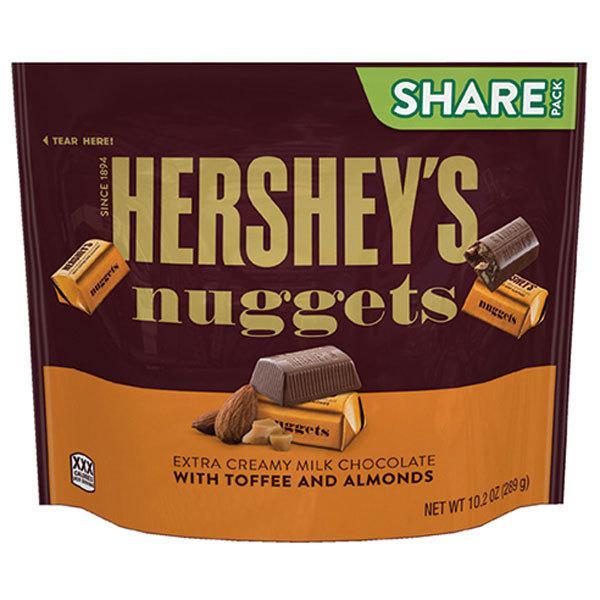 16袋 ハーシー ナゲット エクストラクリーミー ミルクチョコ ウィズトフィーアーモンド シェアパック 289gクール便配送の選択可能