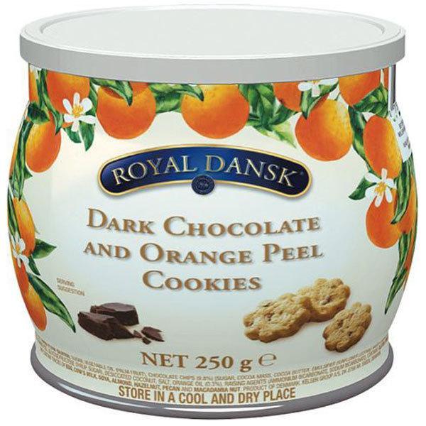 【12缶】ケルセン ロイヤルダンスク ダークチョコ&オレンジピールクッキー 250g  沖縄は一部送料負担あり