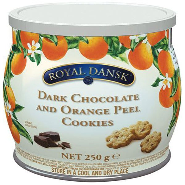 【4缶】ケルセン ロイヤルダンスク ダークチョコ&オレンジピールクッキー 250g  沖縄は一部送料負担あり
