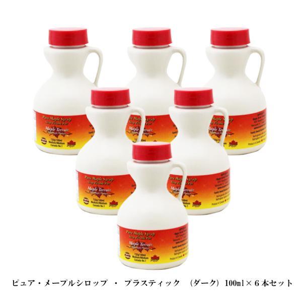 メープルシロップ 100ml ボトルタイプ ×6本セット レシピ本付き カナダ土産 100% ピュアメイプル グレードA ダークロバストテイスト(旧ミディアム)