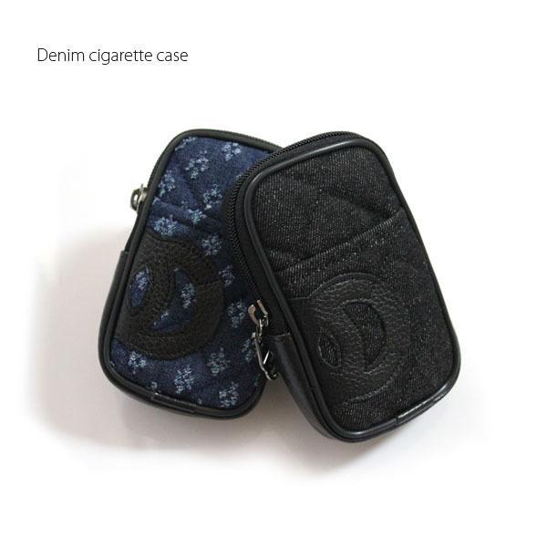 シガレットケースタバコケースタバコ入れロングポーチアイコスケースライター収納00デニム風パロディポケット付き