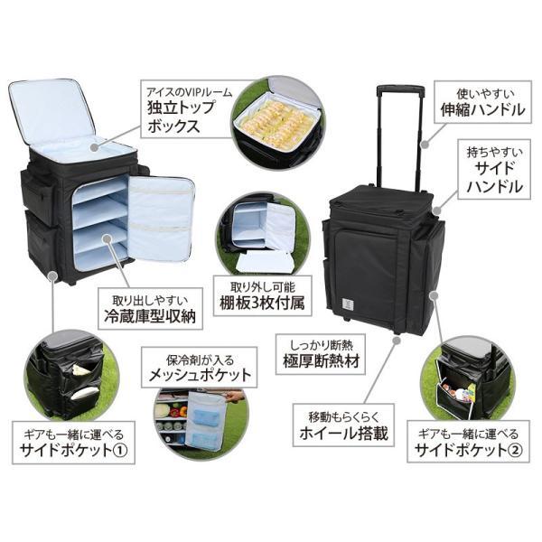 冷蔵庫形状で食材が一目瞭然 キャスター付きクーラーボックス ブラック CL1-653-BK|cancamp|06