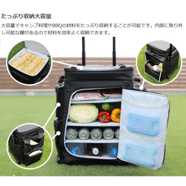 冷蔵庫形状で食材が一目瞭然 キャスター付きクーラーボックス ブラック CL1-653-BK|cancamp|08