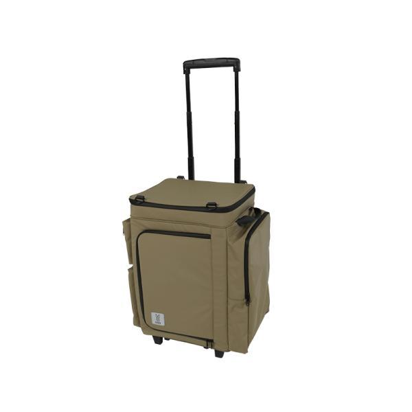 冷蔵庫形状で食材が一目瞭然 キャスター付きクーラーボックス タン CL1-653-TN|cancamp