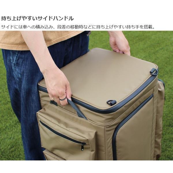 冷蔵庫形状で食材が一目瞭然 キャスター付きクーラーボックス タン CL1-653-TN|cancamp|11