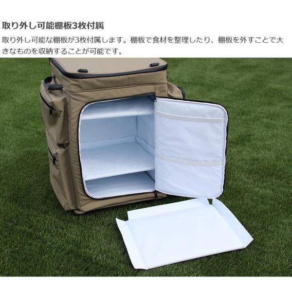 冷蔵庫形状で食材が一目瞭然 キャスター付きクーラーボックス タン CL1-653-TN|cancamp|13