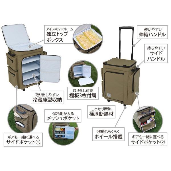 冷蔵庫形状で食材が一目瞭然 キャスター付きクーラーボックス タン CL1-653-TN|cancamp|06