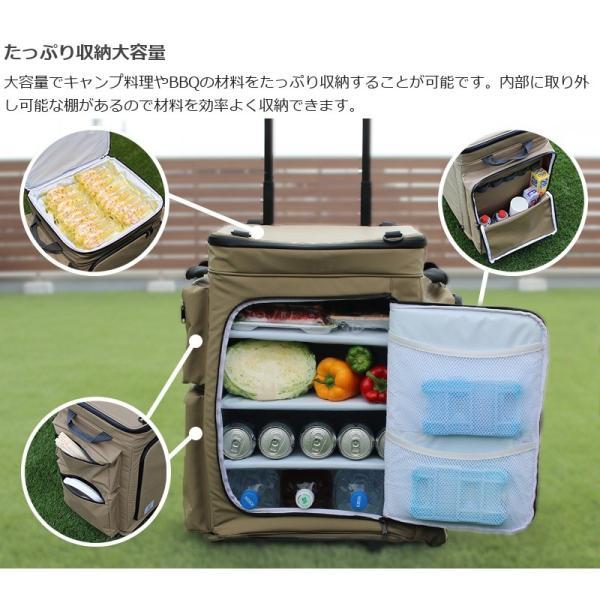 冷蔵庫形状で食材が一目瞭然 キャスター付きクーラーボックス タン CL1-653-TN|cancamp|08