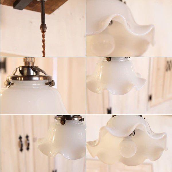 【LED電球対応】ペンダントランプ ガラスシェード ミルクガラス 小さめ コードサイズ変更可! 取付簡単 可愛い キッチン 玄関 廊下 トイレ|candoll-2014|03