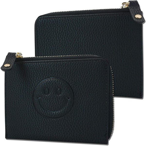 L字ファスナーコンパクトコインケースミニ財布ニコちゃんブラック