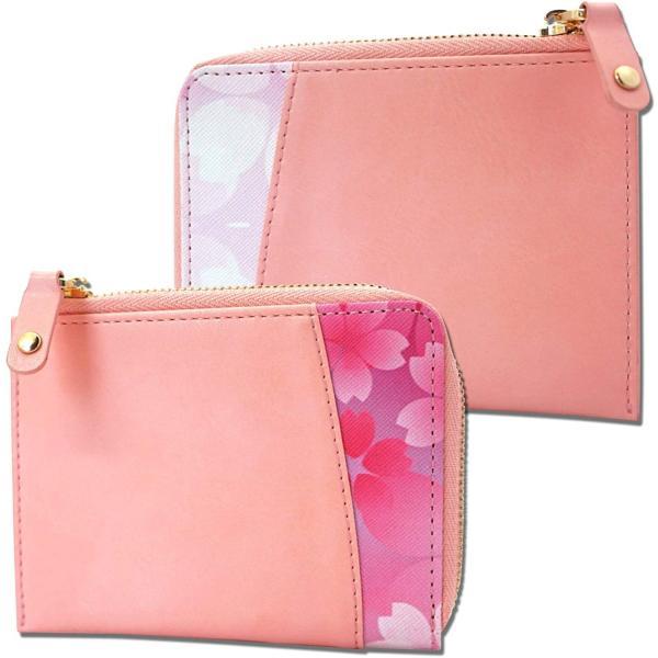 L字ファスナーコンパクトコインケースミニ財布花柄ピンク