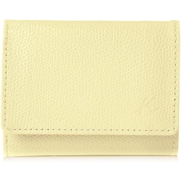 キタムラ 三折財布キズが目立ちにくい型押しPH0635イエロー/ホワイトステッチ 黄色 40901