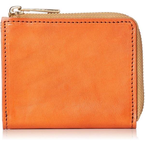 ジャパンファクトリー 栃木レザーL字ファスナーコンパクト財布牛革メンズレディースオレンジJAW018-Orange