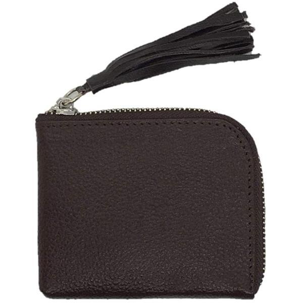 Nattarika L字ファスナーミニ財布小さい財布薄型牛革本革レザー財布レディースメンズ大容量(ダークブラウン)