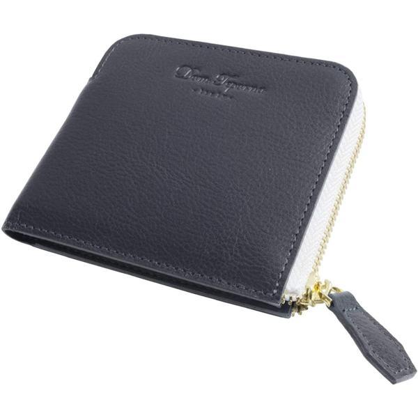 DomTepornaItaly 薄型L字ファスナーミニ財布イタリアンレザー小さい財布インナーツートンバイカラー本革財布大容