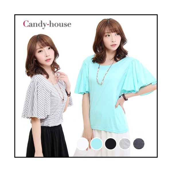 カットソー フレアースリーブ ラッフルスリーブ 半袖 5色 送料無料 1742|candy-house
