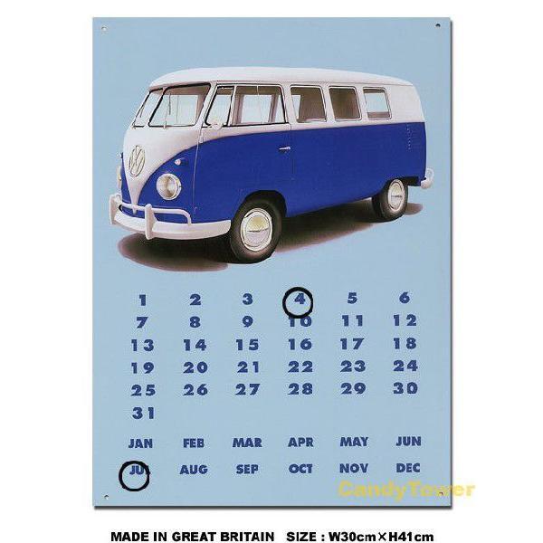 アメリカ ブリキ看板 フォルクスワーゲン ワーゲンバス 万年カレンダー アメリカ雑貨 アメリカン雑貨 サインプレート インテリア 壁飾り おしゃれ