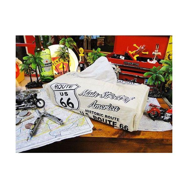 ルート66のティッシュカバー(アイボリー) アメリカン雑貨 アメリカ雑貨 candytower