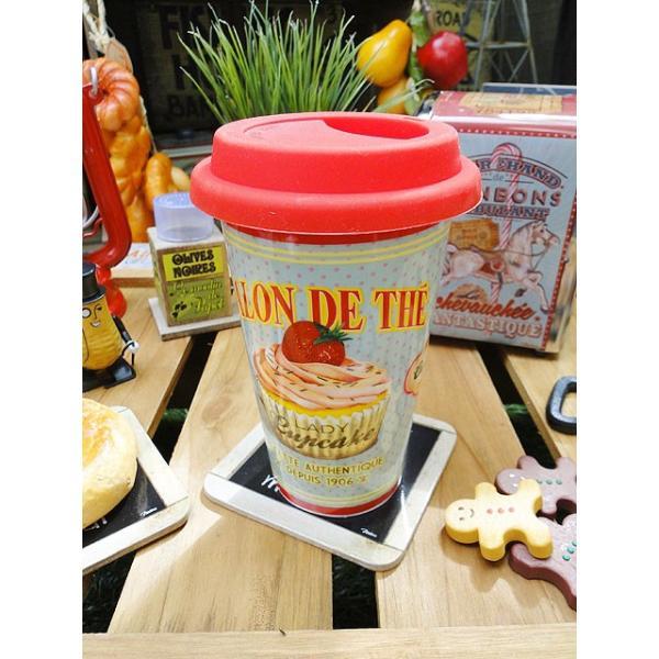 フレンチアメリカンのフタ付きマグカップ(レディカップケーキ) アメリカン雑貨 アメリカ雑貨