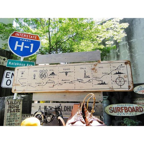 ルート66マップの木製看板 アメリカ雑貨 アメリカン雑貨|candytower