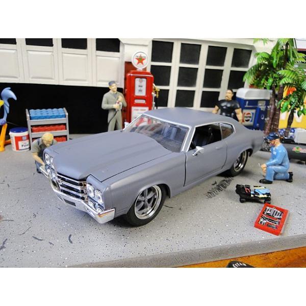 Jada 映画「ワイルドスピード」のダイキャストモデルカー 1/24スケール(ドム/シェビー・シェベルSS 1970 プライマーグレー) アメリカ雑貨