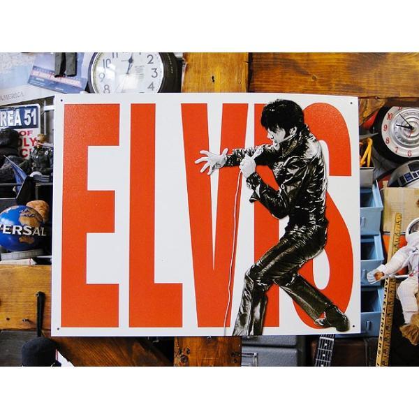 エルヴィス・プレスリーのブリキ看板ElvisLeather■アメリカ雑貨アメリカン雑貨サインプレートティンサインボード
