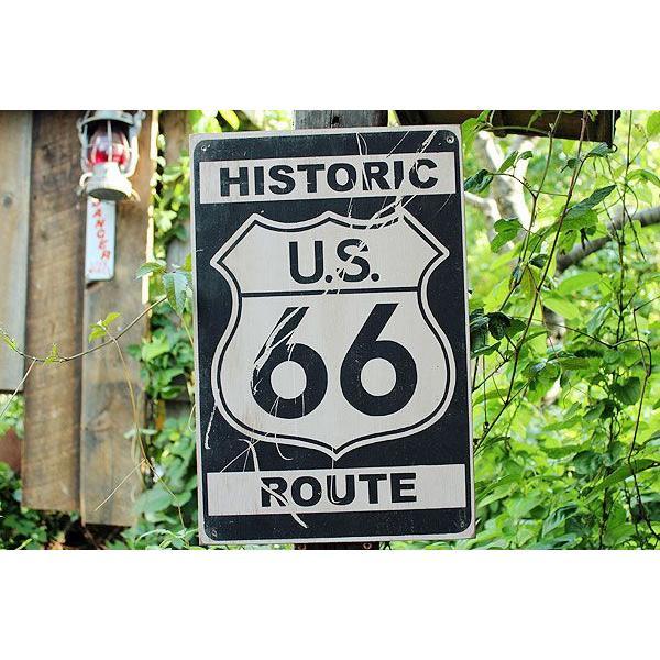 昔のルート66のウッドサイン(ヒストリックルート66/縦) アメリカ雑貨 アメリカン雑貨 おしゃれなガレージ 壁掛け インテリア 木製看板|candytower