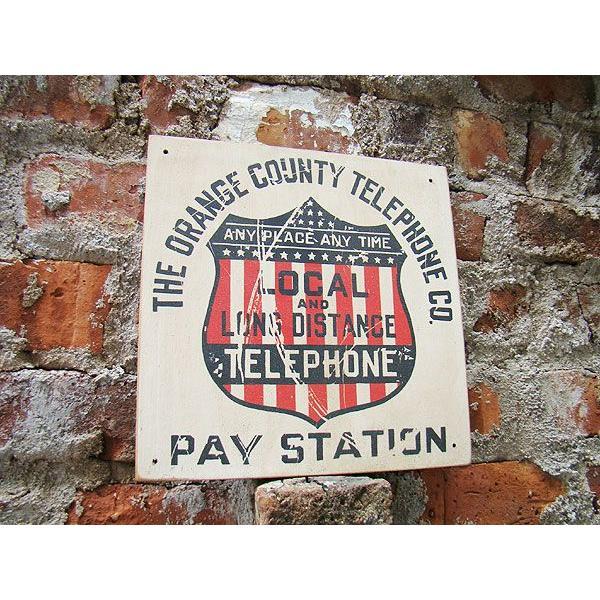 昔のアドバタイジングのウッドサイン(テレフォン) アメリカ雑貨 アメリカン雑貨 壁掛け インテリア おしゃれな部屋 人気 カントリー雑貨|candytower