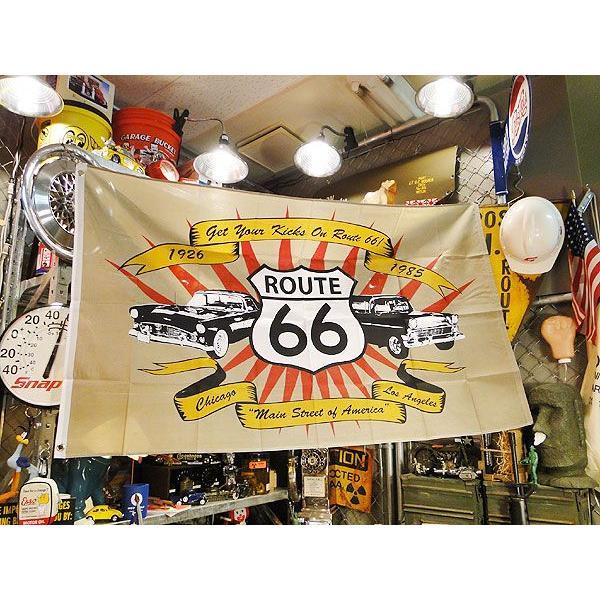 ルート66&アメ車のビッグサイズフラッグ アメリカ雑貨 アメリカン雑貨 旗 インテリア 小物 壁飾り おしゃれ 人気 candytower