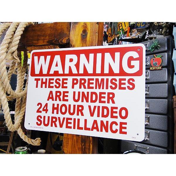 アメリカのプラスチックサインボード ヘビーオンスタイプ(24時間監視中) アメリカ雑貨 アメリカン雑貨|candytower