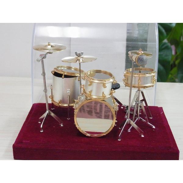 ドラム セット ミニチュア この商品はお取り寄せ商品です 《音楽・バレエ・ねこ雑貨のカンタービレ》スタンド ケース付き 音楽雑貨 楽器 発表会 記念品 プレゼン