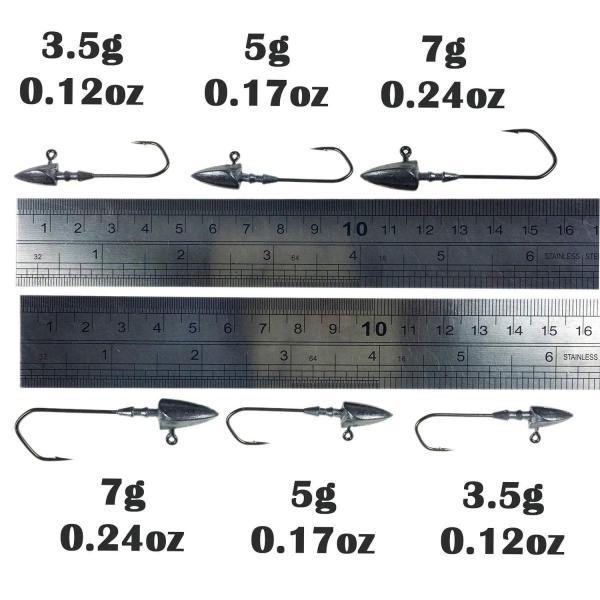 THKFISH釣りジグヘッド、20個 14g トライアングルバーブウェイトレスリードジグヘッドフィッシングタックルボックスセット
