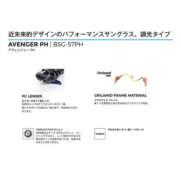 BBB サングラス アヴェンジャー グロッシーブラック PC PH レンズ BSG-57PH 132049 132049