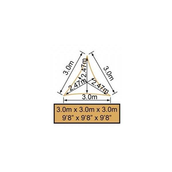 クッカバラ 日除けシェードセイル 砂色 3m正三角形 紫外線98%カット 防水タイプ OL0104SST|caply|08