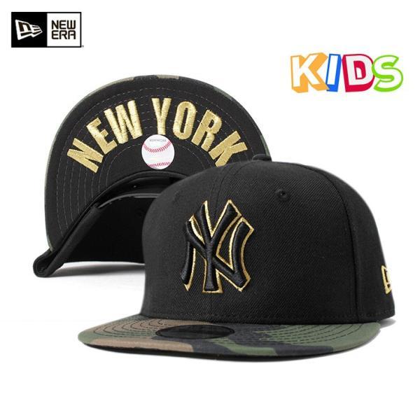 NEW ERA KIDS(ニューエラ キッズ) 9FIFTY スナップバックキャップ アンダーバイザー NY MLB ニューヨークヤンキース ブラック カモフラ 迷彩柄  KIDS|caponspotz