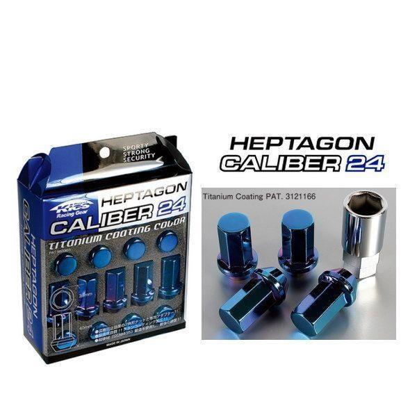 KYO-EI 協永産業 HPC-03 ヘプタゴン キャリバー24 ホイールナットセット チタンコーティングブルー 全長40mm M12×P1.25 20個入