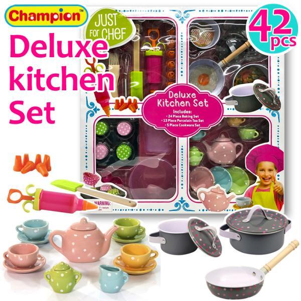 送料無料 costco コストコ chanpion JUST FOR CHEF おままごと キッチンセット 42ピース お鍋 フライパン ベイキングセット ティーセット