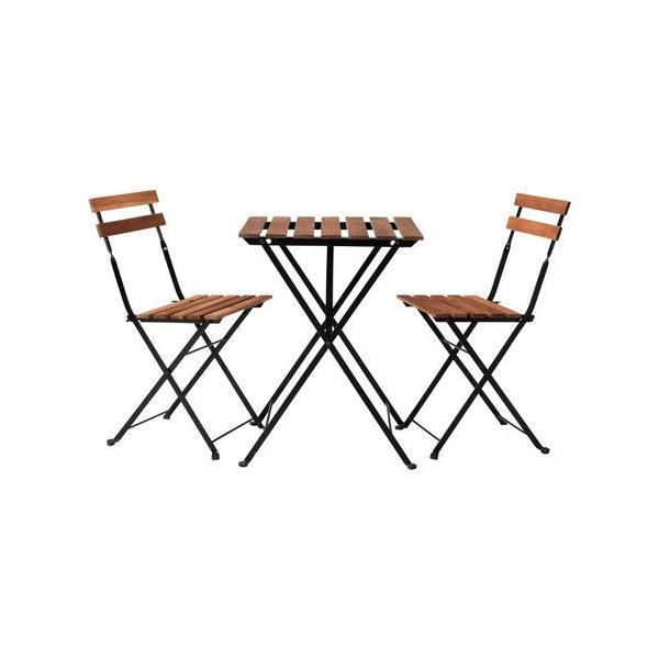 送料無料 イケア IKEA TARNO ガーデンテーブルセット テーブル&チェア 2脚 アカシア材 スチール