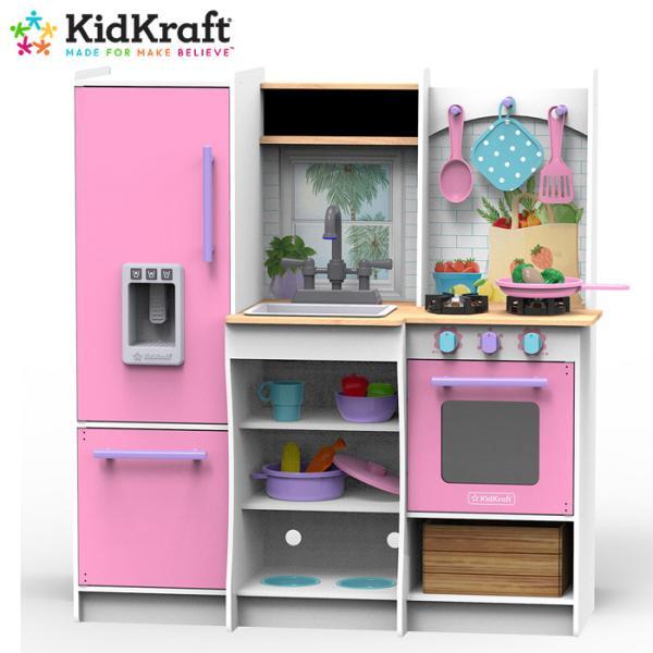 キッドクラフト フレッシュ ハーベスト プレイキッチン kidKraft Fresh Harvest Play Kitchen ピンク おままごと 送料無料 costco コストコ 冷蔵庫