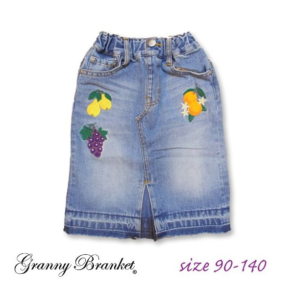 40%OFF SALE/Granny Branket グラニーブランケット シシュウデニムタイトスカート 90-140 18ss|caramelmama