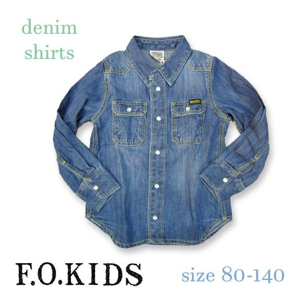 【2018spring】FOキッズ エフオーキッズ デニムシャツ 80-140 18ss caramelmama