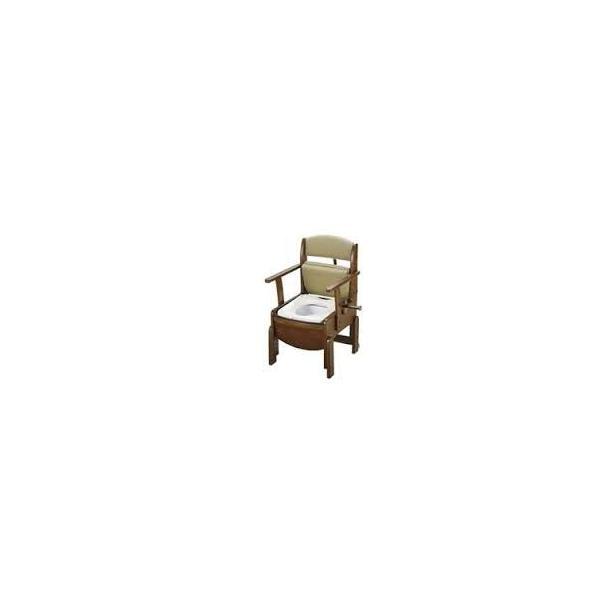Pトイレ:木製トイレきらくコンパクト肘掛跳ね上げ 暖房便座 家具調ポータブルトイレ 18570 (株)リッチェル