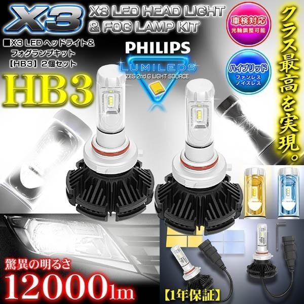 2019年最新版/プリウス/α/パッソ/プレミオ/HB3/X3 PHILIPS 12000LM/LEDヘッドライトキット50W/6500K車検対応/変換フイルム付/2個セット/1年保証|cargoodsya-shopping