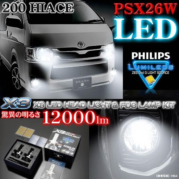 200系ハイエース4型/PSX26W X3 PHILIPS 12000ルーメンLEDフォグランプキット50W/6500K車検対応2個/1年保証ブラガ cargoodsya-shopping 05