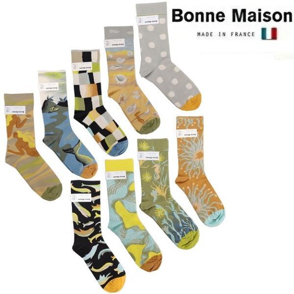 BonneMaisonボンヌメゾンコットンソックス2021SSレディースメンズ靴下フランス総柄MF